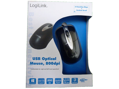 LogiLink ID0011 optical Maus black Optisch, USB, 800 DPI,